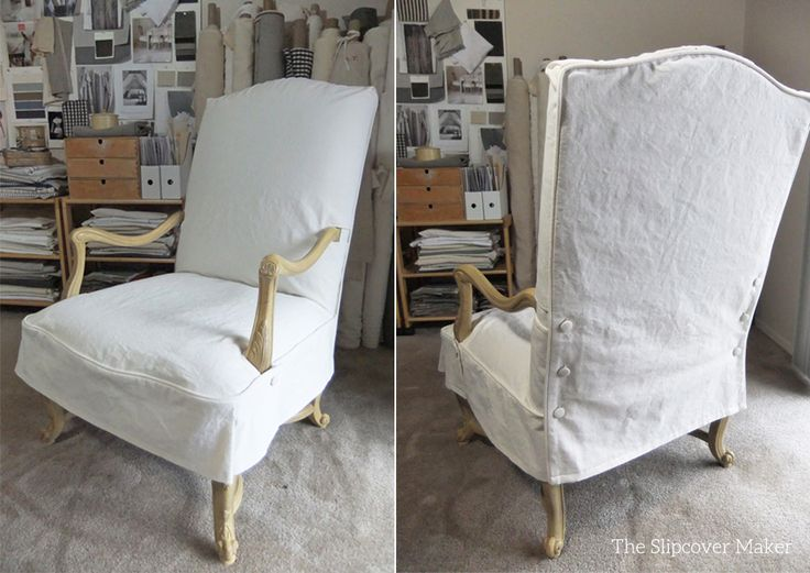 Slipcover makeover for a French-style chair in washed cotton/poly canvas with a casual fit and understated styling. Lovely!