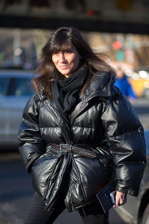 Emmanuelle Alt wearing a puffy jacket during nyfw feb 2015