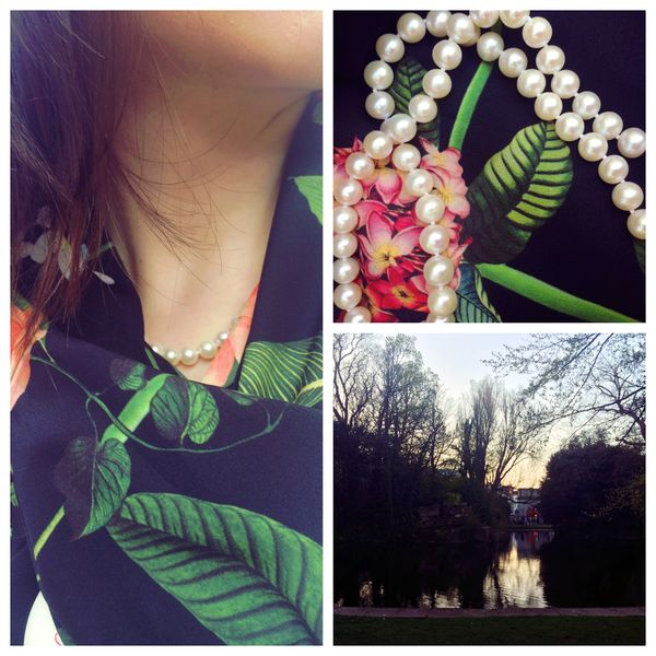 How to wear a pearl necklace. Ted Baker scarf SS2016