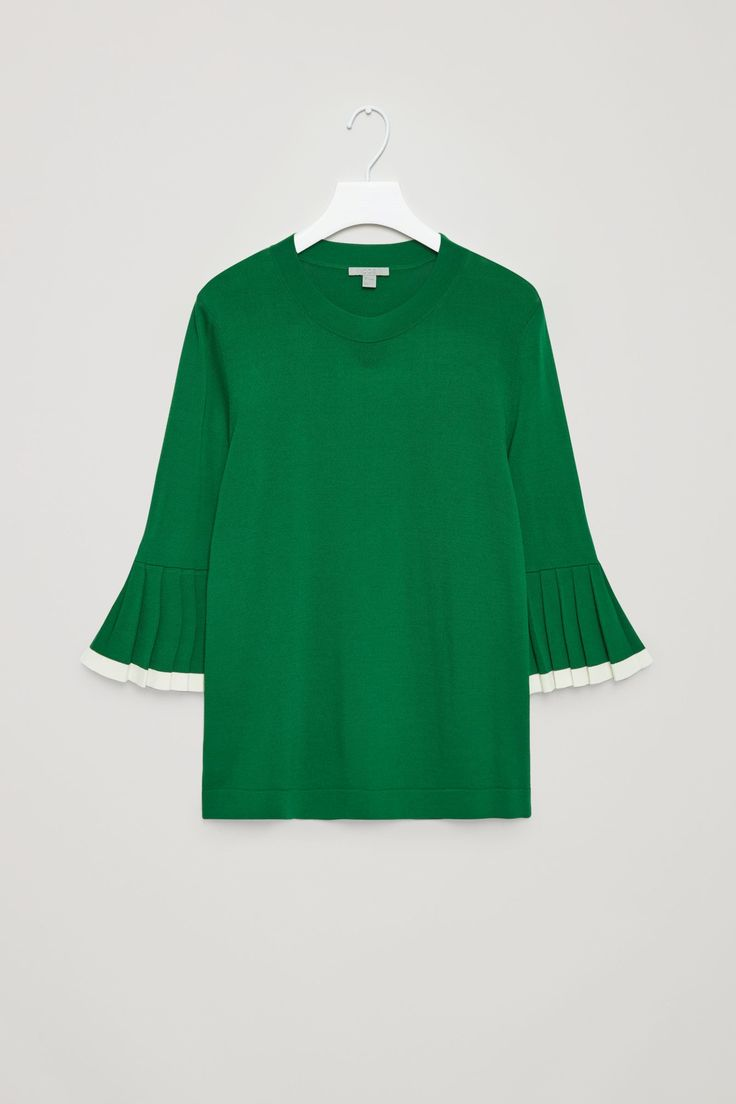 COS image 5 of Pleated sleeve jumper in Bottle Green