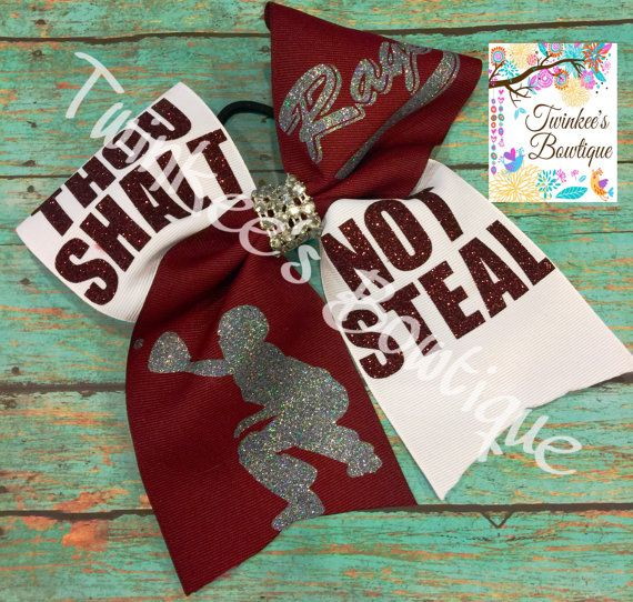 Catcher Softball Hair Bow Thou Shalt Not Steal by TwinkeesBowtique