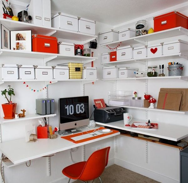 43 Inspiring And Thoughtful Home Office Storage Ideas : Home Office Storage Ideas With White Red Wall Cabinet Storage Desk Chair Mac Computer Carpet Flooring