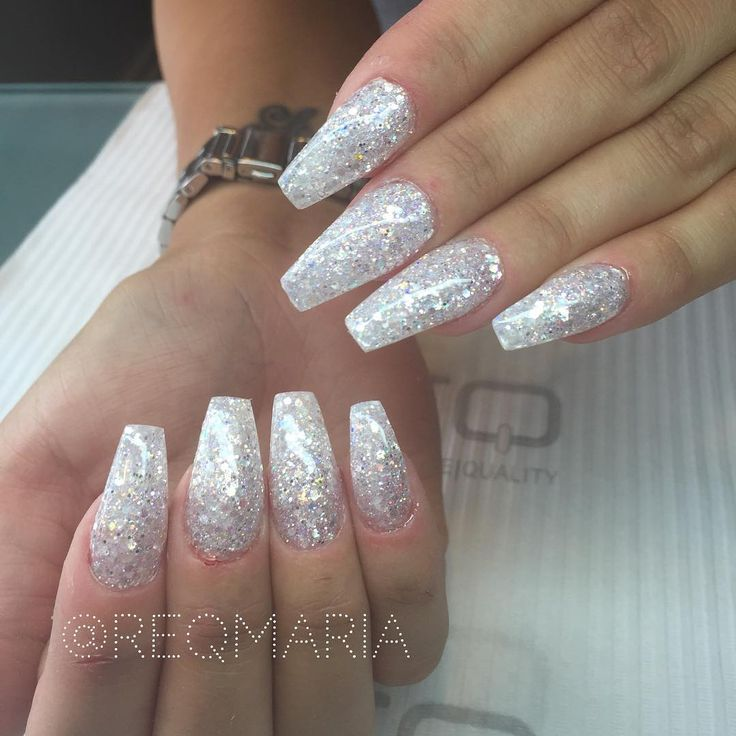 Simple yet Gorgeous - Glitter long coffin nails @reqmaria ...