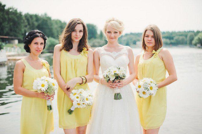 Подружки невесты в светло-желтых платьях / Ромашковая свадьба / Daisy wedding