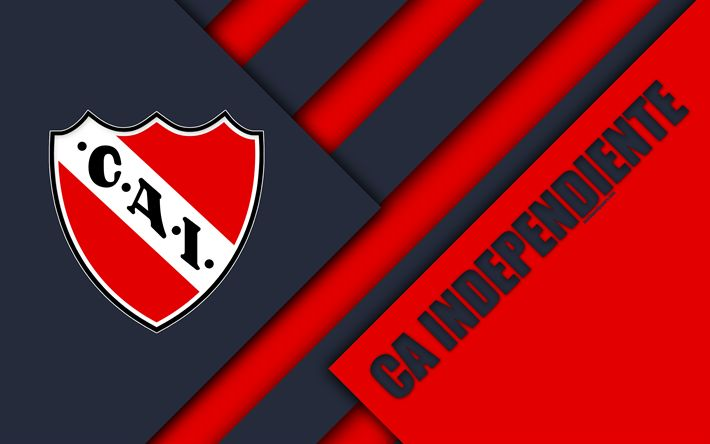 Download wallpapers CA Independiente, Avellaneda, Argentine football club, 4k, material design, red white abstraction, Argentina, football, Argentine Superleague, First Division