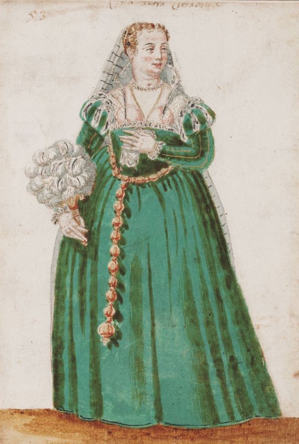 A [...] Citizen - the lowest rank of Venetian nobility, The Venetian Woman in 'Mores Italiae,' 1575, Unknown Artist, Beinecke Rare Book and Manuscript Library, Yale University, http://realmofvenus.renaissanceitaly.net/wardrobe/moresitaliae.htm