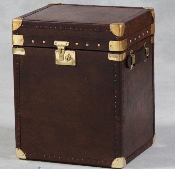 Brown Leather Trunk - £365.00 - Hicks and Hicks