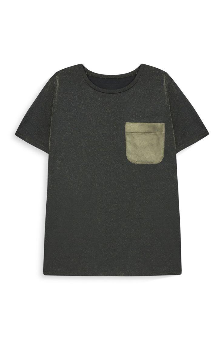 T-shirt com bolso cetim verde