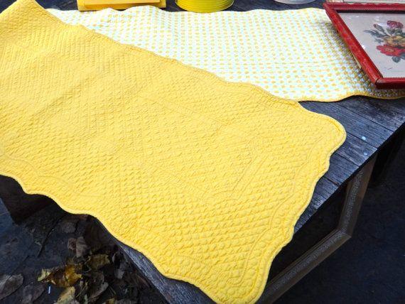 Yellow Quilt, Reversible Yellow Table Runner, Farmhouse Textiles, Gingham Decor, Williams Sonoma, Checkered Decor, Tablecloth, Picnic Decor