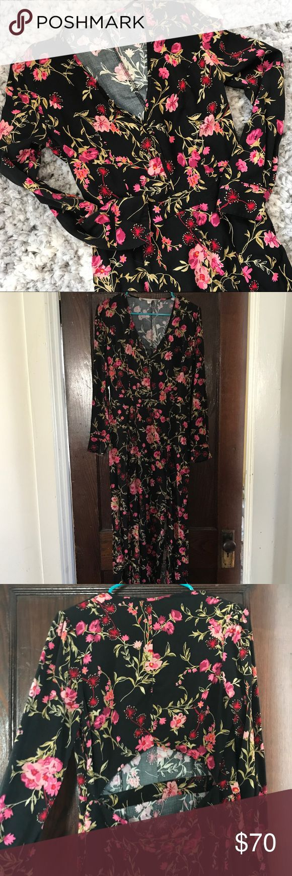 NWOT open back maxi dress [chelsea & violet] Perfect for a winter or early spring wedding! This maxi dress features a bright, all over floral pattern, a deep V neck, two slits in the skirt stopping approximately mid thigh, and a cutout in the back. Never worn! This item is brand new, but without tags. Only selling because I don't have really any occasions coming up to wear it. Time to let it have another chance at being worn! Chelsea & Violet Dresses Maxi