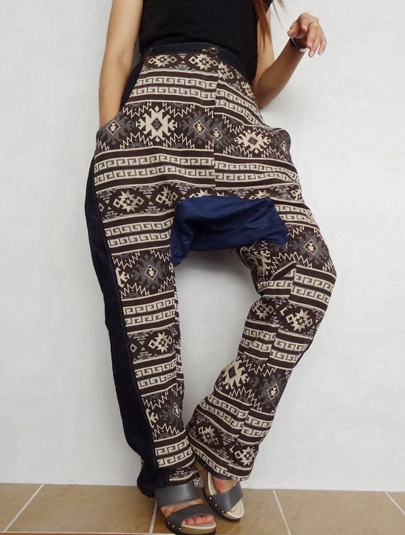 Drop Crotch Harem pants,Unisex Patchwork Long Trouser, Denim lightweight & Hand Woven(pants-PW03). by Brightfashion on Etsy