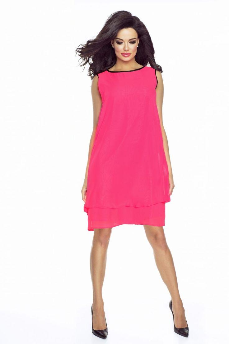 Letnia sukienka asymetryczna z szyfonu bez rękawów różowa