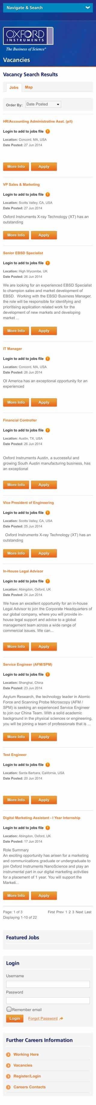 Oxford Instruments mobile-responsive vacancies page