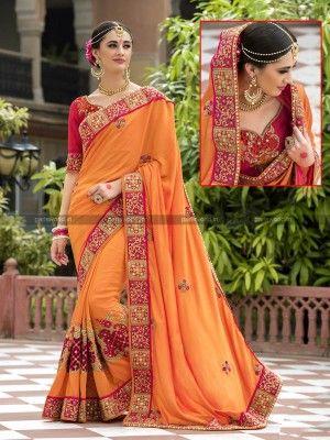 Orange Silk Designer Wedding Saree