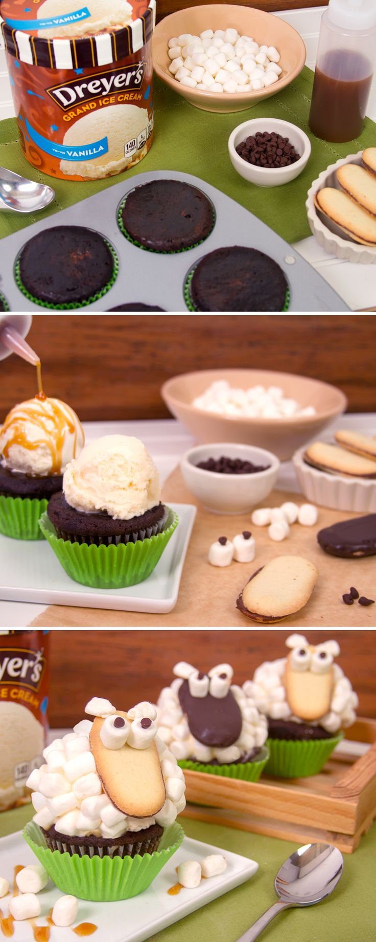 """Dreyer's Ice Cream Marshmallow Sheep: Your kids will love it, and so will you – create them together, go on and make a few! Place a scoop of Dreyer's Grand Vanilla Ice Cream on top of a cupcake with a green wrapper. Drizzle caramel over top. Then, stick mini marshmallows onto the Ice Cream to create the """"wool"""" of the sheep. Use cookies and candies to create the face!"""