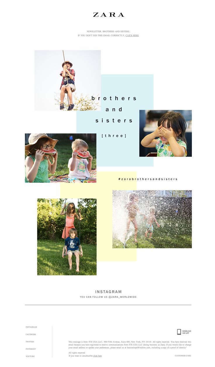 Zara poster design - Zara Brothers And Sisters Lookbook Email Newsletter Design