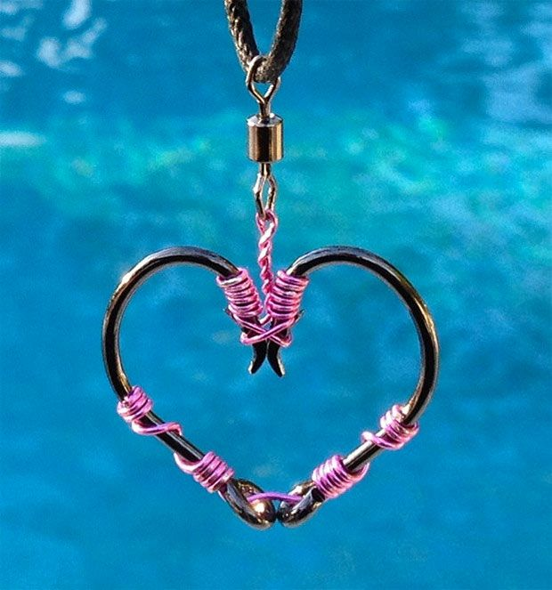 Fish Hook Heart Necklace
