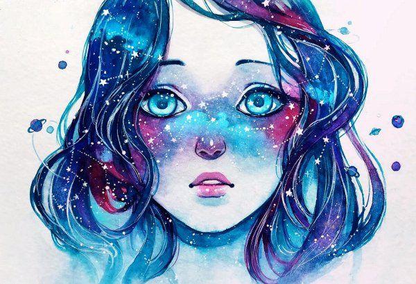 Degradado del pelo en colores azules, con detalles rosas. Contrastes entre oscuros y luminosos. Repetición de elementos en las pecas de su cara asemejando estrellas, al igual que los detalles del cabello. Énfasis en los ojos por saturación e iluminación.
