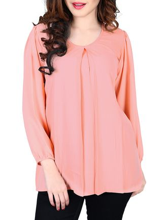 Buy Cutemad Peach Plain Georgette Top Online, , LimeRoad