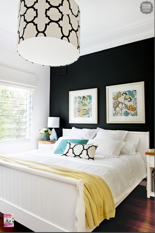 Love this look, but I think I would go with a very dark navy instead of black on that accent wall.