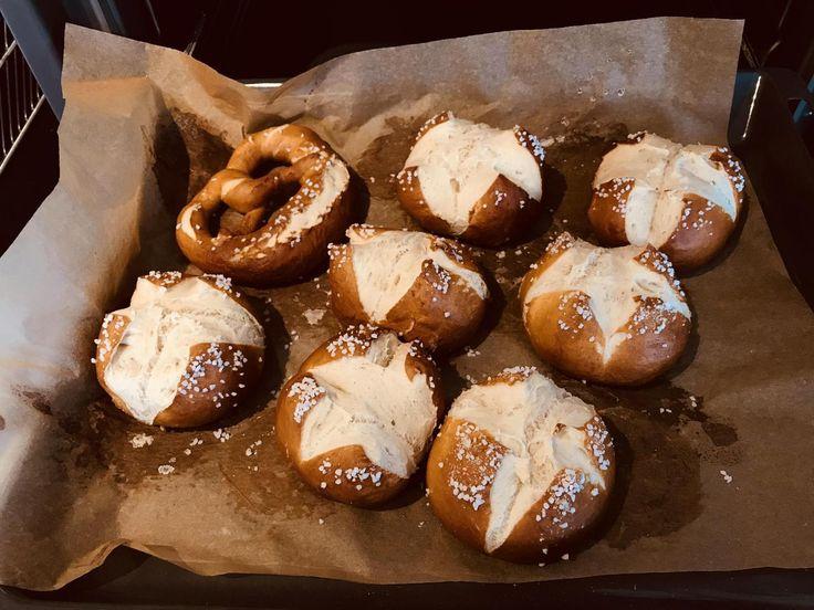 My first attempt at pretzel buns (and a cowardly hidden pretzel) Found here