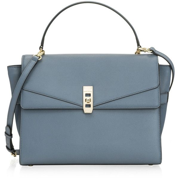 Henri Bendel Uptown Satchel ($299) via Polyvore featuring bags, handbags, henri bendel handbags, henri bendel purses, satchel handbags, blue satchel handbags and flap satchel handbag