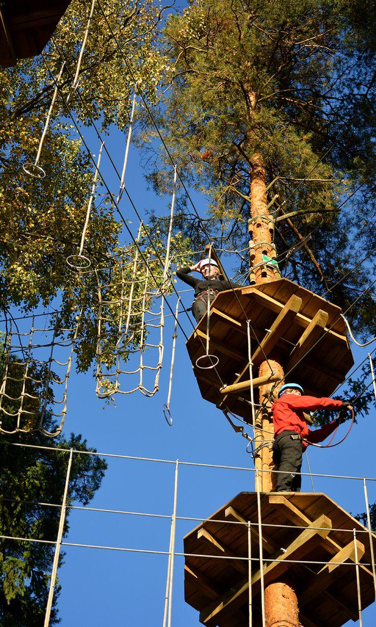 Renkaat ovat monesta punaisen radan haastavin este.  Many consider the rings the most challenging avtivity on the red course. #seikkailupuisto #treetopadventure #espoo #finland