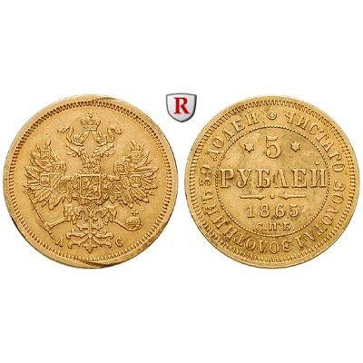 Russland, Alexander II., 5 Rubel 1865, 5,99 g fein, ss: Alexander II. 1855-1881. 5 Rubel 5,99 g fein, 1865 St. Petersburg. Friedb.… #coins