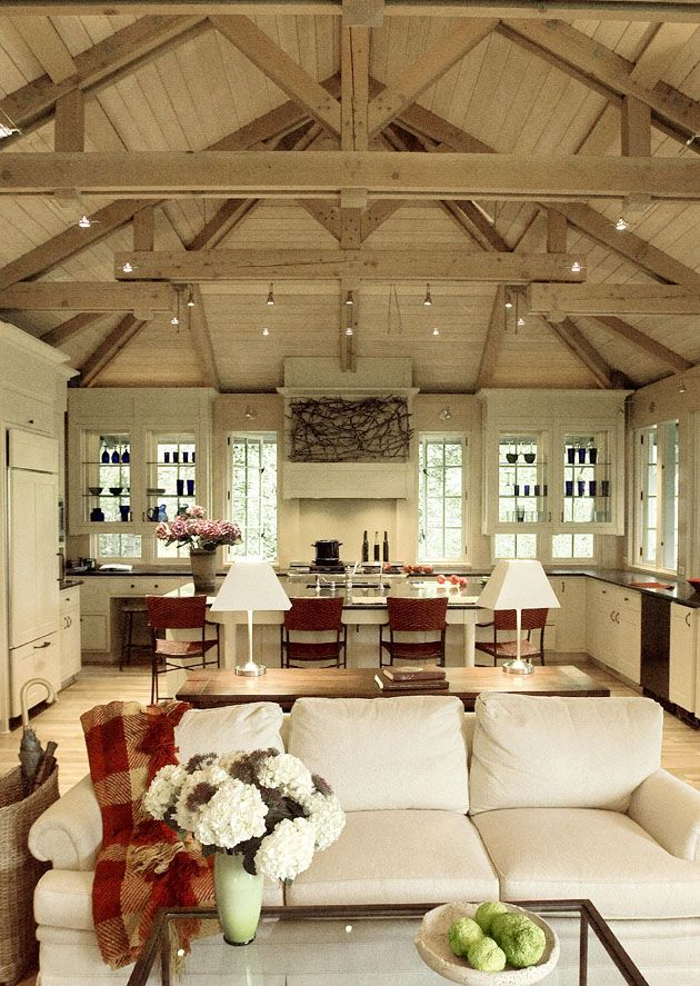 Amazing ceiling detail in the kitchen and adjoining family room ~ Donald Lococo Architects