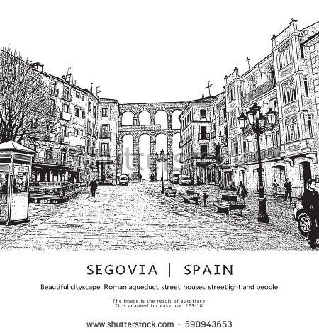 Segovia, Spain. Beautiful cityscape. Vector illustration in engraving style.  This image is the result of auto-trace. It is adapted for easy use.