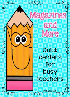 18 printables that you can use with a magazine center.  All you need is an assignment, magazine, and a pencil.  Easy center to set up.  $