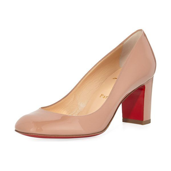 huge discount cb777 e7749 Christian Louboutin Cadrilla Patent Block-Heel Red Sole Pump ...