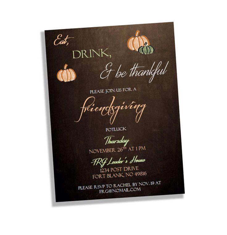 Friendsgiving Invitation - Thanksgiving Potluck Party Invitation - Potluck Invitation - Thanksgiving Invites - Printed Invitations - Digital by BluePandaInvitations on Etsy https://www.etsy.com/listing/250010214/friendsgiving-invitation-thanksgiving