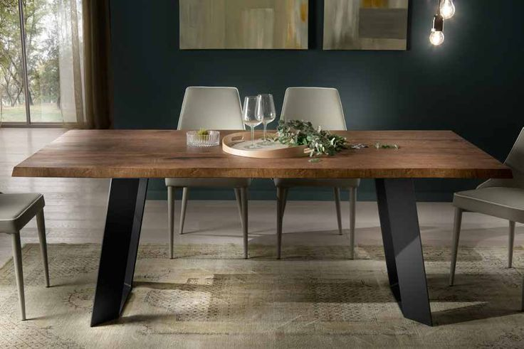 tavolo moderno gambe in metallo #style #industrial #metal #wood