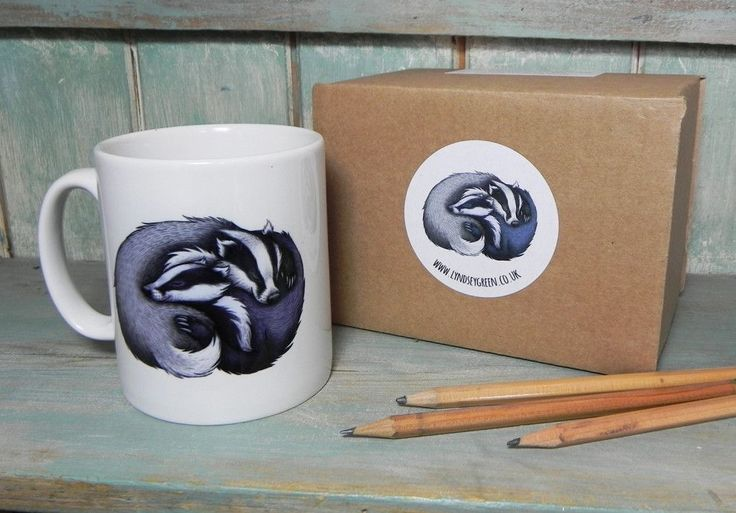 A mug featuring two very snuggly badgers who are true relationship goals.