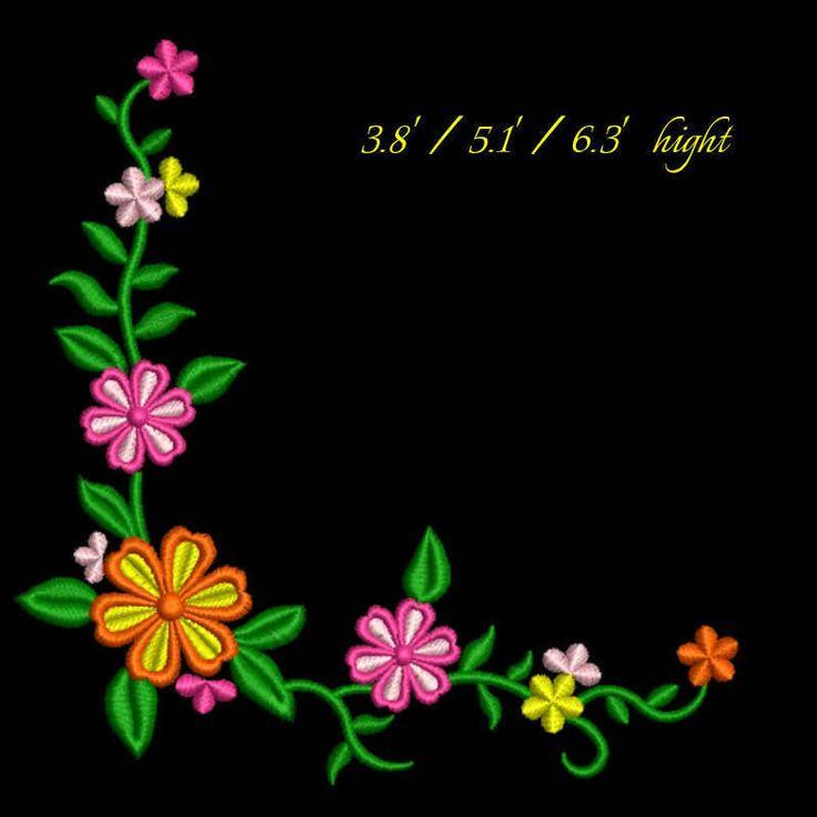 Flower corner embroidery design floral pattern digital download by GretaembroideryShop on Etsy