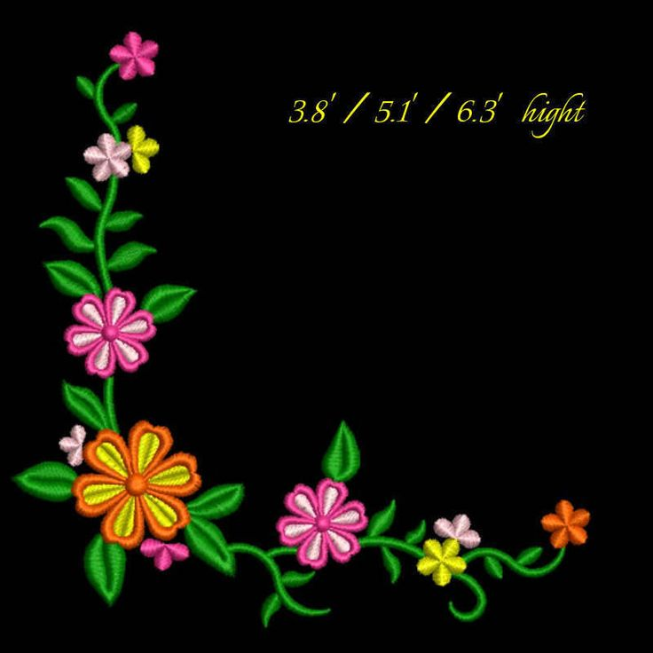Flower corner embroidery design floral pattern digital download by GretaembroideryShop on Etsy