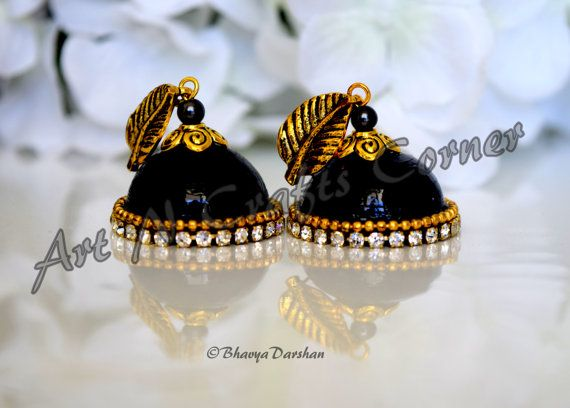 Black Quilling Jhumka Quilling Earring Indian by ArtNCraftsCorner