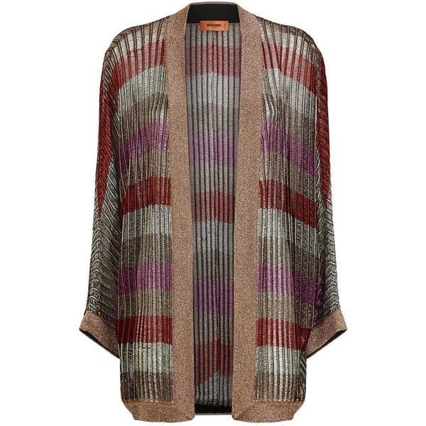 Missoni Lurex Knit Open Cardigan ($1,305) ❤ liked on Polyvore featuring tops, cardigans, knit cardigan, striped cardigan, brown cardi, open drape cardigan and oversized knit cardigan