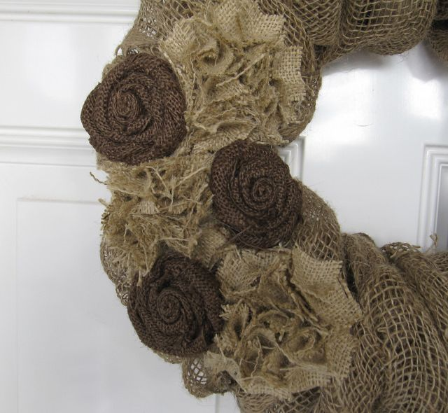 Under My Umbrella: Burlap Wreath Tutorial & Giveaway  Ornament (turorial) into flower and twisted burlap rose on wreath