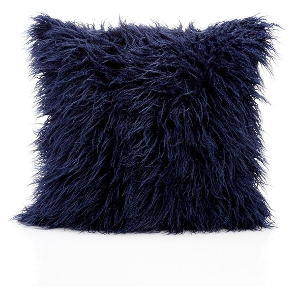 Nordstrom Rack Flokati Faux Fur Pillow (33 CAD) ❤ liked on Polyvore featuring home, home decor, throw pillows, navy indigo, indigo throw pillows, nordstrom rack, navy throw pillow, navy blue home decor and navy blue accent pillows