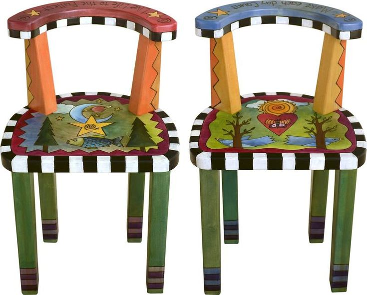 Sticks handmade short stool set with backs