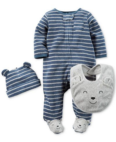 Carter's Baby Boys' 3-Pc. Striped Hat, Bib & Footed Coverall Set