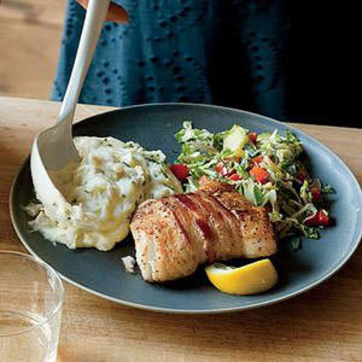 Bacon-Wrapped Halibut with Shredded Brussels Sprouts and Mashed Potatoes - Rachael Ray Every Day