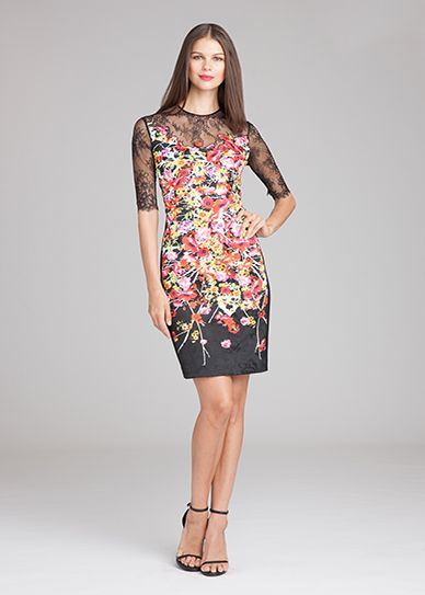 Floral and Lace Sheath Dress