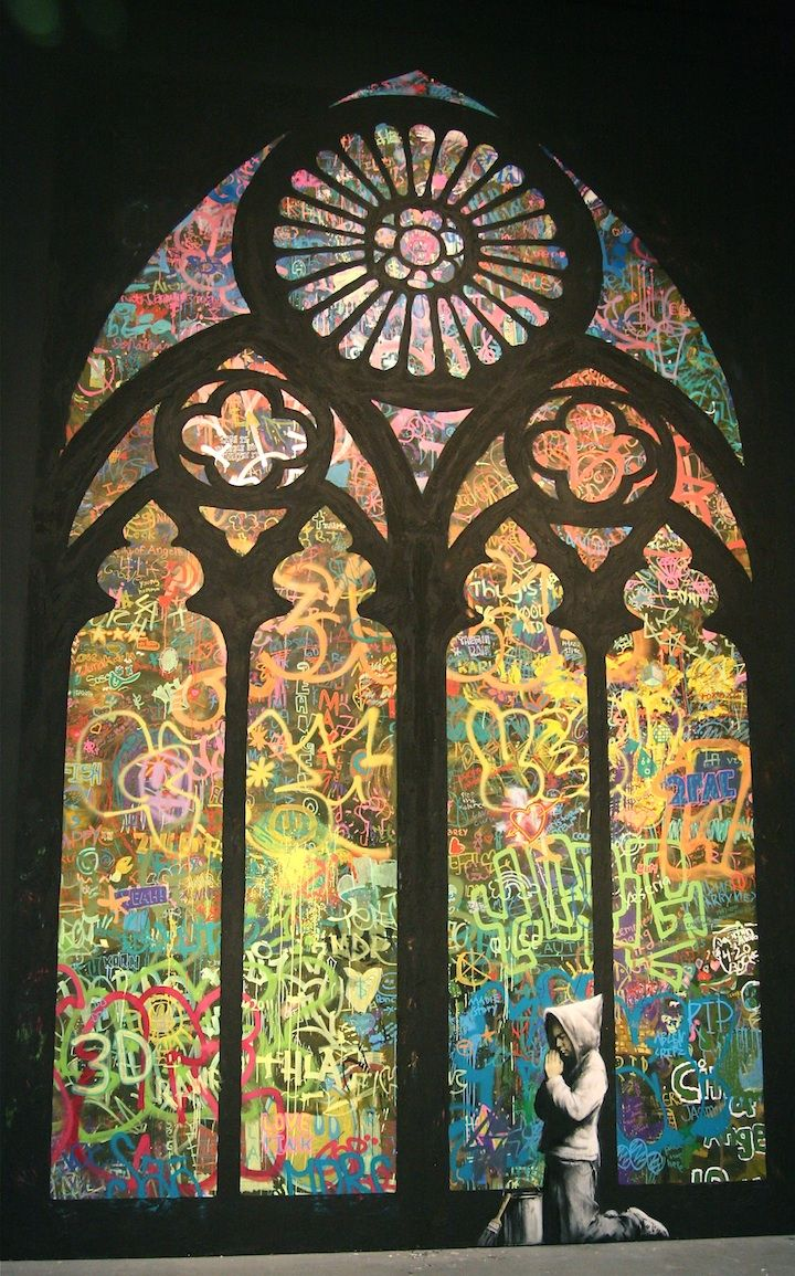 : Stainedglass, Stained Glass Windows, Inspiration, Glasses, Graffiti, Street Art, Banksy, Streetart