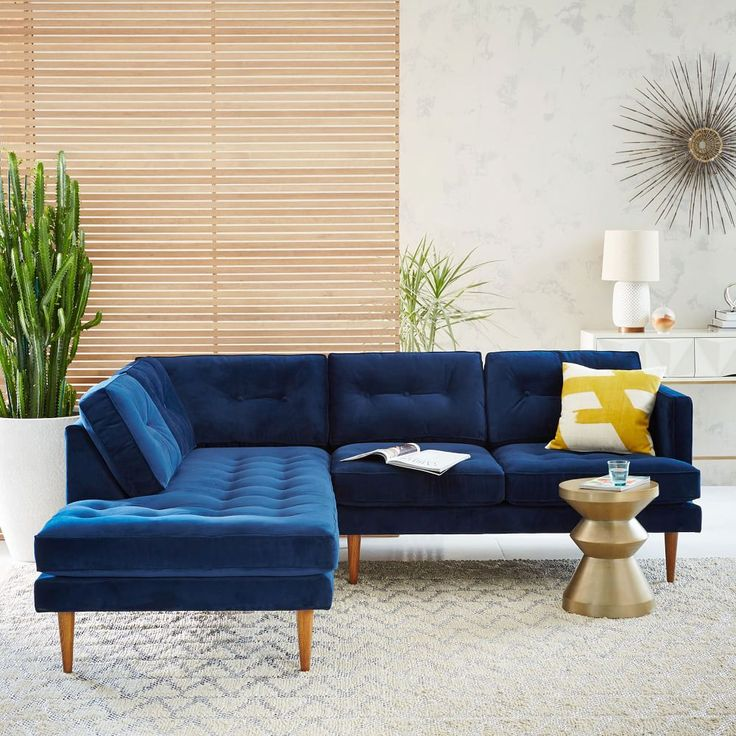 Peggy Mid-Century Set 2: Right Arm Sofa, Left Terminal Chaise, Performance Velvet, Ink Blue | west elm