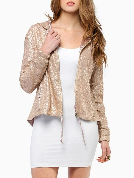 Golden Back Cutout Hooded Jacket with Sequins