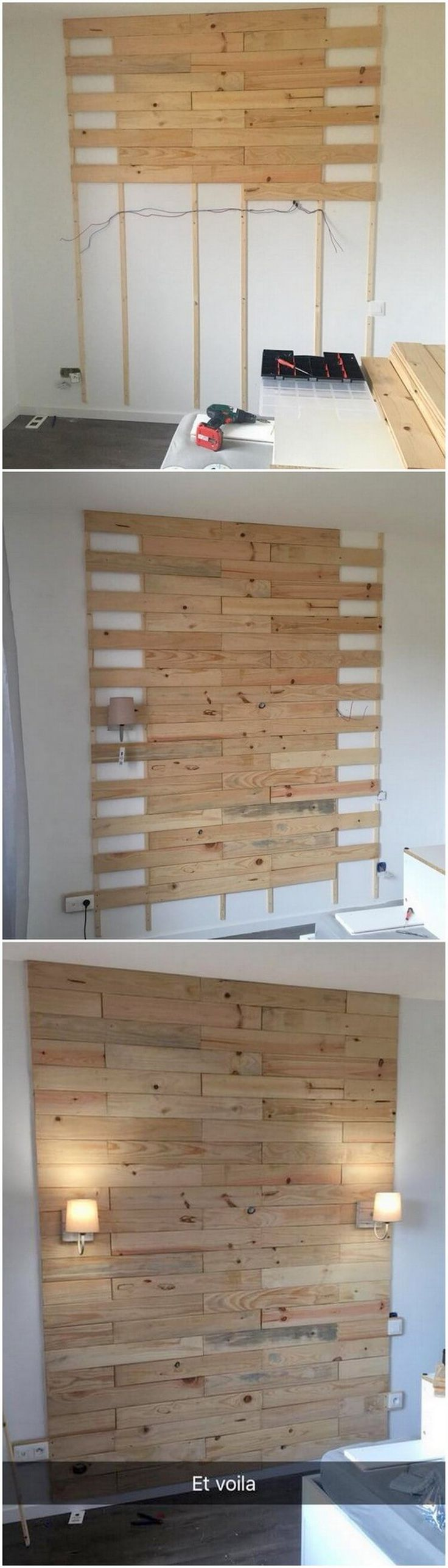 Let's have a quick look at this simple yet stylish designed creation of the pallet wall paneling that would look tremendous for your house. The whole of the wall paneling has been hence carried out with the arrangement of the wood pallet durable finishing outlook impact right into it.