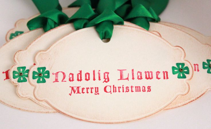 Christmas Tags (Doubled Layered) - Nadolig Llawen Merry Christmas Welsh Christmas - Vintage Inspired Christmas Gift Tags  - Set of 8 by atouchofgray on Etsy https://www.etsy.com/listing/203017245/christmas-tags-doubled-layered-nadolig